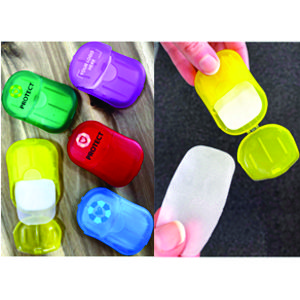 15 soap sheets in a small plastic flip open container, available in 5 great colours