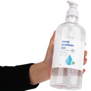 1 litre pump pack bottle of customised hand sanitiser, contains 75% ethyl alcohol