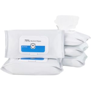soft pack of sanitising wet wipes with flip open lid, contains 50 wipes