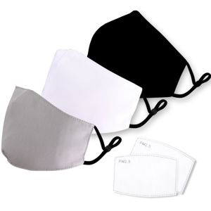 plain fabric face masks with filter pocket, packaged with 5 filters, shown in black, white and grey