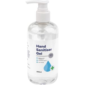 300ml hand sanitiser pump pack shown with custom printed label