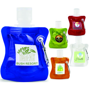 30ml hand sanitiser in handy coloured soft pack with carabiner clip attachment