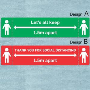 2 existing designed covid safe spacing floor stickers, 1 in red and 1 in green