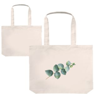 cotton canvas tote shown plain and with a custom printed logo