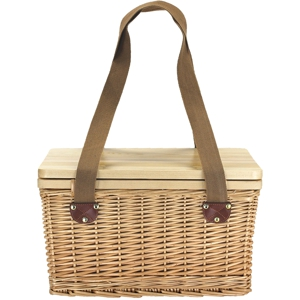 rectangular wicker picnic basket with timber lid and 2 long canvas carry straps