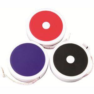 round plastic tape measures shown in complete colour range