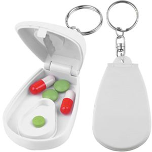 white pill cutter on keyring