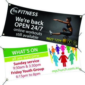 vinyl banners made to size, eyelet corners and printed with a CMYK full colour graphic